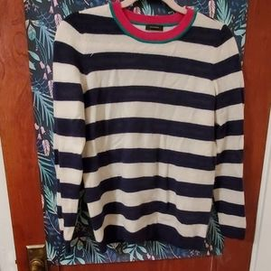 Ivory and Navy Stripe Cashmere Sweater